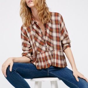 Free People Promise Everything Cropped Plaid Top